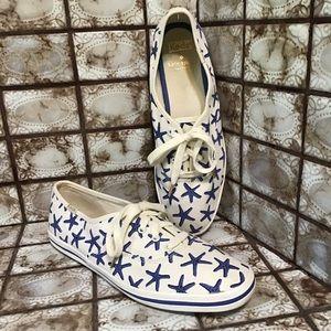 KEDS x Kate Spade Blue & White Starfish Shoes 8.5